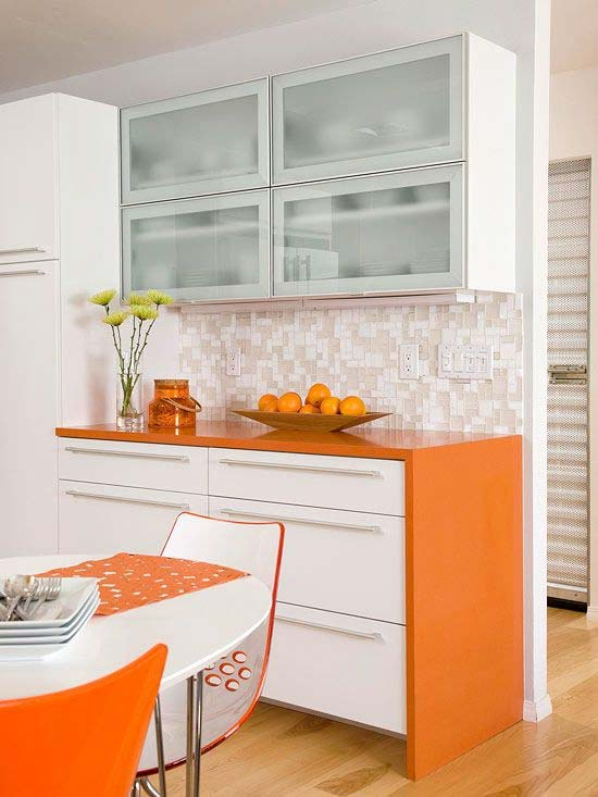 کابینت نارنجی سفید