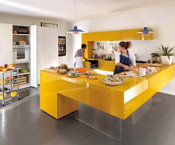 کابینت هایگلاس مدرن زرد